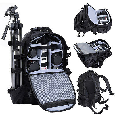 Black Deluxe camera Backpack Bag Case Sony Canon Nikon DSLR SLR Multifunctional