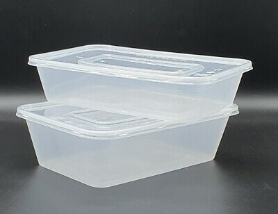 Plastic Food Grade Microwave & Freezer Safe Disposable Containers 500ml or 650ml