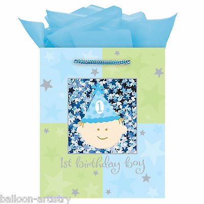 "9.5"" Happy 1st Birthday Boy Party Blue Confetti Shaker MEDIUM Paper Gift Bag"