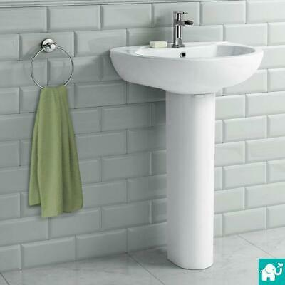 Back To Wall or Close Coupled Toilet & Curved Pedestal Sink Basin Bathroom Suite