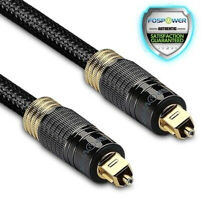 FosPower 6FT Durable Mesh Tough Digital Optical S/PDIF Fiber Toslink Audio Cable