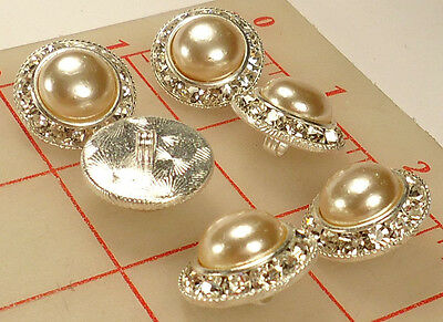 """6 vintage silver metal rhinestone shank buttons glass pearl center 0.8"""" 21mm 135"""