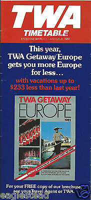 Airline Timetable - TWA - 01/03/82
