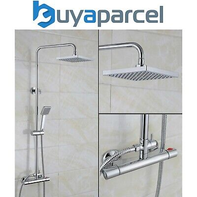 "SQUARE Exposed Thermostatic Bar Mixer Shower DUAL CONTROL + 8"" Overhead Diverter"