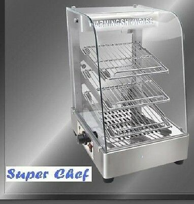 """New! Heated Food Display Warmer Cabinet Case 15""""  S/S"""