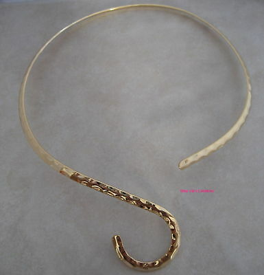 2 gold plated hammered neckwire necklace choker base with curve