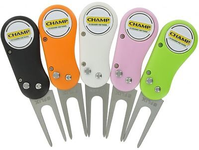 CHAMP FLIX COLLAPSIBLE DIVOT REPAIR TOOL & BALL MARKER (various colours)