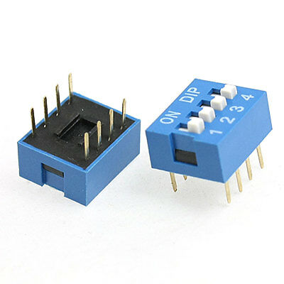 5 Pcs 2.54mm Pitch 4 Position Slide Type DIP Switch Black