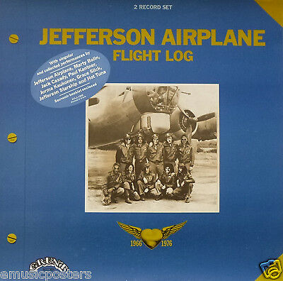 "JEFFERSON AIRPLANE ""FLIGHT LOG"" U.S. PROMO POSTER - Grace Slick, Marty Balin"