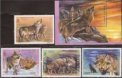 Mongolia - 2000 Wolves 4 Stamp Set + S/S -   - 13f-037