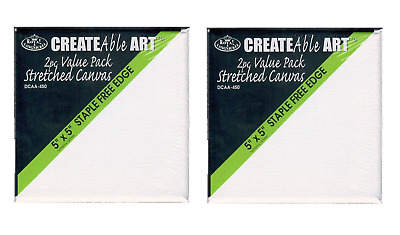 "4 x MINI ARTIST BLANK STRETCHED SQUARE BOX CANVAS 5"" x 5"" 12.5 x 12.5cm DCAA450"