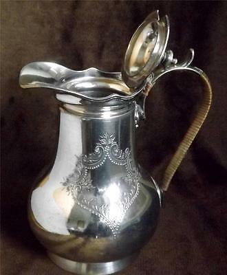 Silver plate EPBM Antique hot water jug hinged lid baluster shape R Richardson