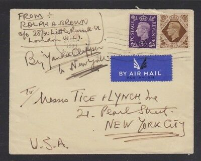 Uk 1939 Paa Airmail Cover London To New York Via Yankee Clipper