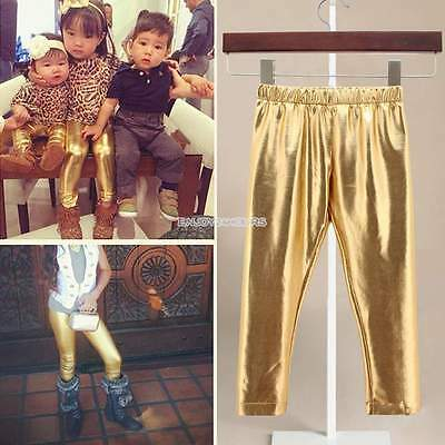 Synthetic Leather Kids Pants Gold Girls Baby Unisex Casual Leggings New EN24H