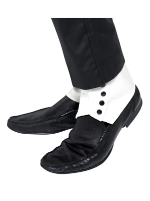 1920s Gangster Stylish Elegant Spats White Fancy Dress Costume Accessory