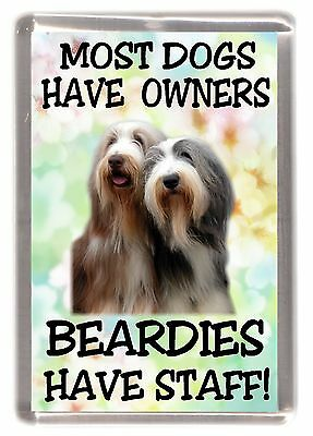 "Bearded Collie Fridge Magnet ""Most Dogs ..... Beardies Have Staff!"" by Starprint"