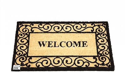 Tough Coir PVC Non-Slip Coir Entrance Door Mat, 40 x 70 cm-Indoor or Outdoor Use