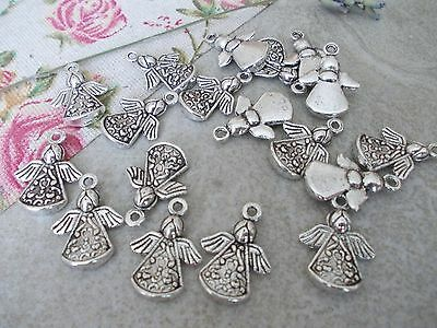 20 x Angel with Wings Silver Tibetan Metal Charms, Great for jewellery making