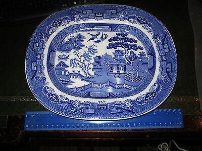 EXCELLENT CONDITION 20TH CENTURY BLUE & WHITE TRANSFER PRINTED MEAT DISH 12X9INS