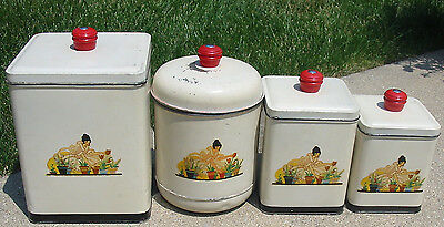 4 Set Vtg Metal Tin Retro Red Knob Kitchen Canister Nesco Flower Pot Lady Decal