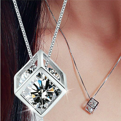 Fashion Womens Jewelry Magic Cube Silver Crystal Chain Necklace Pendant Gift