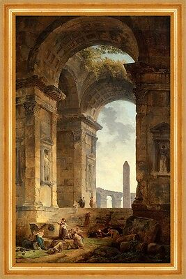 Ruins with an obelisk in the distance Hubert Robert Ruinen Antike B A3 02291