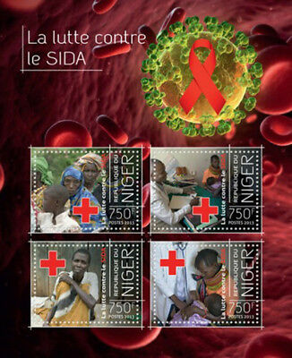 Niger-2013 Fight Against AIDS in Africa Red Cross 4 Stamp Sheet 14A-310