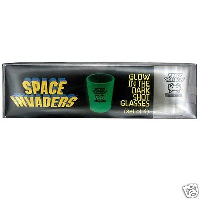 Space Invaders Glow In The Dark Shot Glasses - A great retro gamer gift!