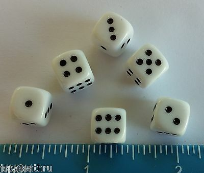 DICE-10mm DELUXE OP WHITE w/BLACK PIPS! *6/SET* - SMALL SIZE OF BASIC DICE COLOR