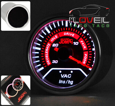 "Universal 2"" 52Mm Vac Vacuum Gauge Engine Ratio Analog Needle Smoke Lens Tint"