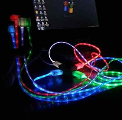 HOT LED Neon Light USB Data Sync Cable Cord Charger for Smartphone Cell Phone xp