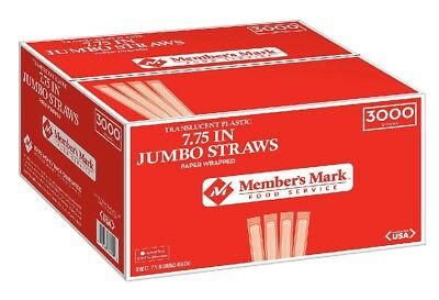 "500 Dixie STRAWS Paper Wrapped Jumbo Plastic 7 3/4"" Translucent Clear Drink Cup"