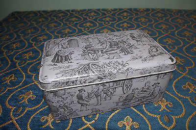 shabby chic Vintage French toile de jouy style tole tin box chateau