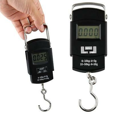 50kg/110lb 0.02lb Digital LCD Hanging Fishing Weighing Scale Black