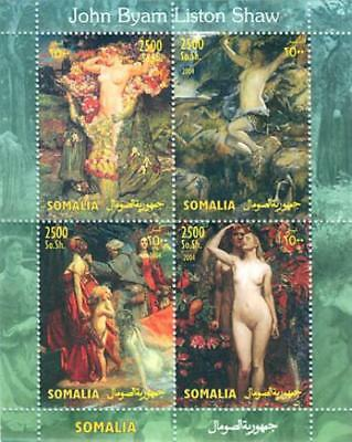 Byam Shaw Paintings of Nudes on Stamps - 4 Stamp  Sheet 19B-159