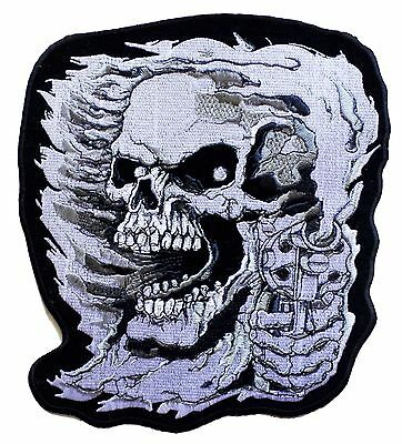 Écusson grand patche dorsal dos grande taille DEATH SKULL patch DIY brodé