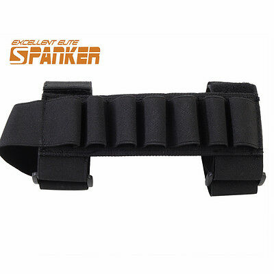 Tactical Airsoft Hunting Shotgun Shell Ammo Stock Carrier Holder 7 Round Black