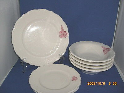 7 Pcs Vintage Syracuse China Hotel Railroad Red Transferware Building Dinnerware