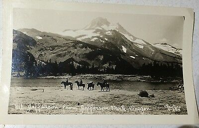 RPPC Oregon OR Mt Jefferson Park Lake Mt Hood Fishing Pack Horses Circa 1939