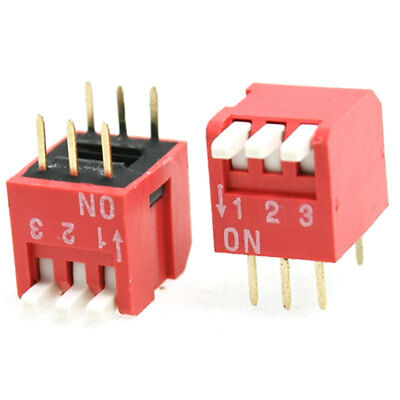 10 Pcs 2.54mm Pitch 3 Position Piano Type DIP Switch Red