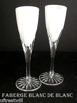 2 Faberge Blanc De Blanc  Opal Cased Cut To Clear Crystal Wine Cordials