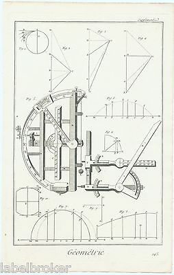 Antique Print Vintage 1777 Copper Plate Diderot Mathematics Geometry Science