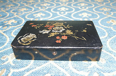 Papier Mache flowers Design Playing Card Box napoleon III period