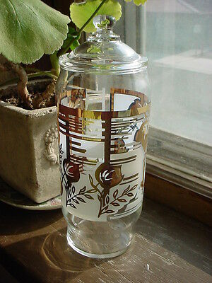 Vtg Candy Jar with Lid Clear Glass Metallic Gold tone Leaves and White 8 inch