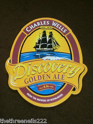 Beer Pump Clip - Charles Wells Discovery Golden Ale