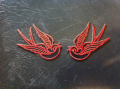 Iron On Patch - Swallows Red/Black Pair