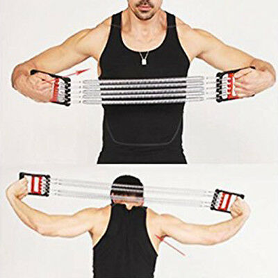 Detachable 5 Spring Chest Pull Expander Fitness Puller Strength Exercise New OZ