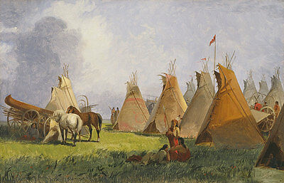 Camp of the Red River Hunters John Mix Stanley Indianer Tipi Pferde B A3 02663