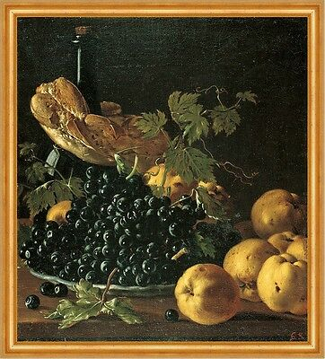 Still Life with Bread, Apples, Grapes and a Bottle Melendez Trauben B A2 02837