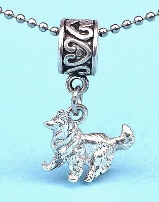 Collie Dog Breed Lovers 3D Charm for Bracelet OR Necklace Sterling plated